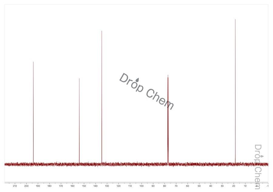 クロトンアルデヒドの13CNMRスペクトル