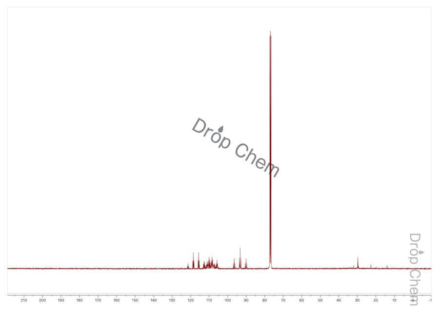 トリデカフルオロヘキシルヨージドの13CNMRスペクトル
