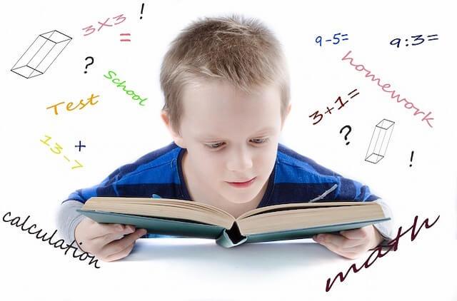 数学の本を読んでいる少年