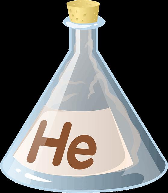 三角フラスコに入っているヘリウムガス