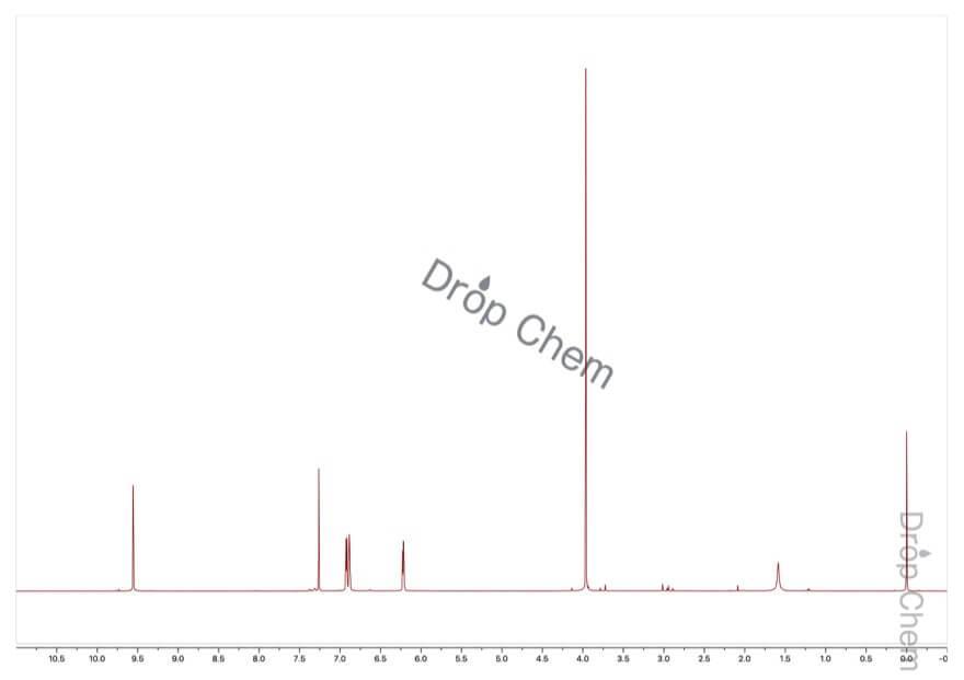 1-メチル-2-ピロールカルボキシアルデヒドの1HNMRスペクトル
