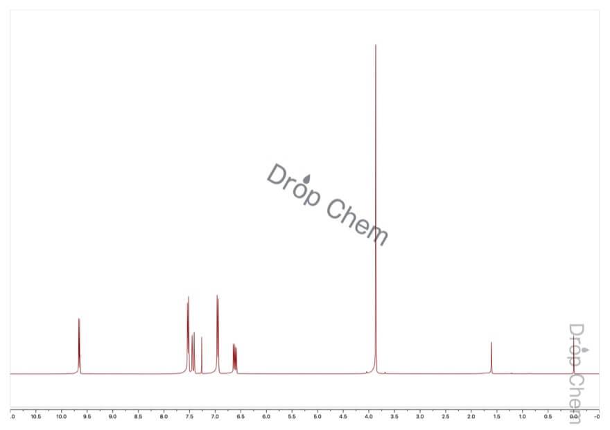 4-メトキシシンナムアルデヒドの1HNMRスペクトル