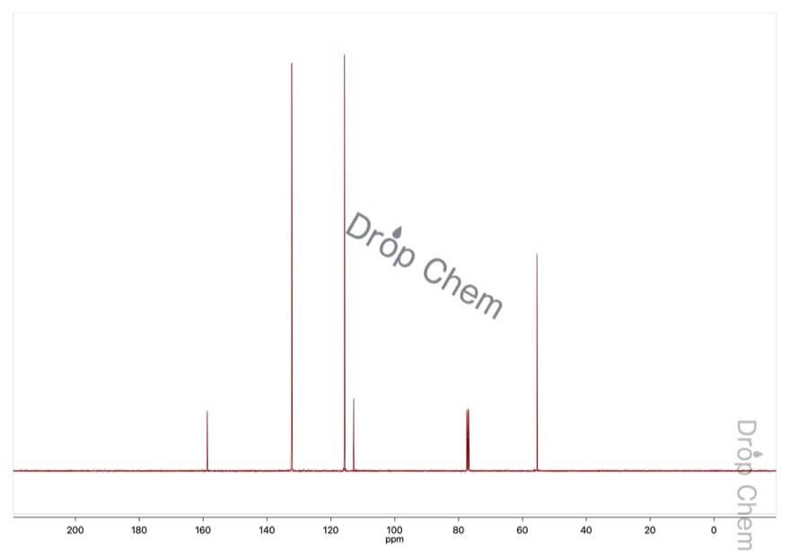 4-ブロモアニソールの13CNMRスペクトル