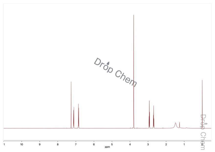 2-(4-メトキシフェニル)エチルアミンの1HNMRスペクトル