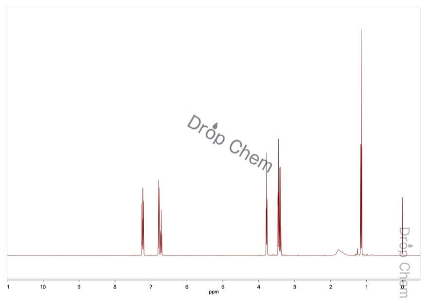 2-(N-エチルアニリノ)エタノールの1HNMRスペクトル