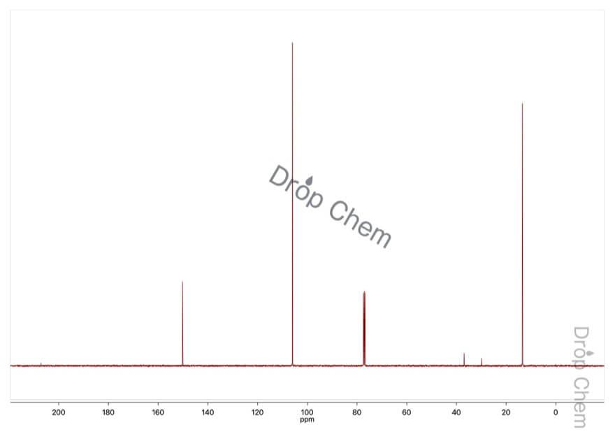 2,5-ジメチルフランの13CNMRスペクトル