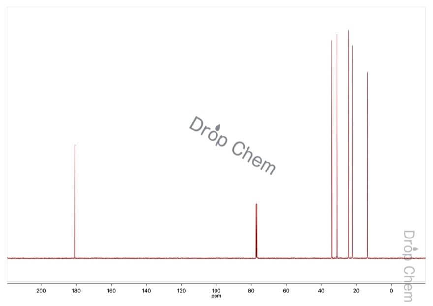 ヘキサン酸の13CNMRスペクトル