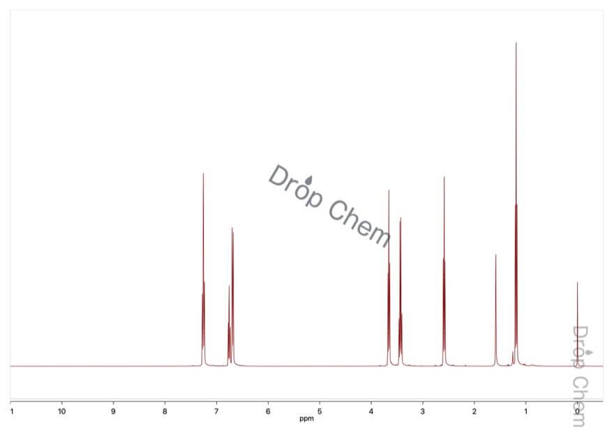 N-(2-シアノエチル)-N-エチルアニリンの1HNMRスペクトル