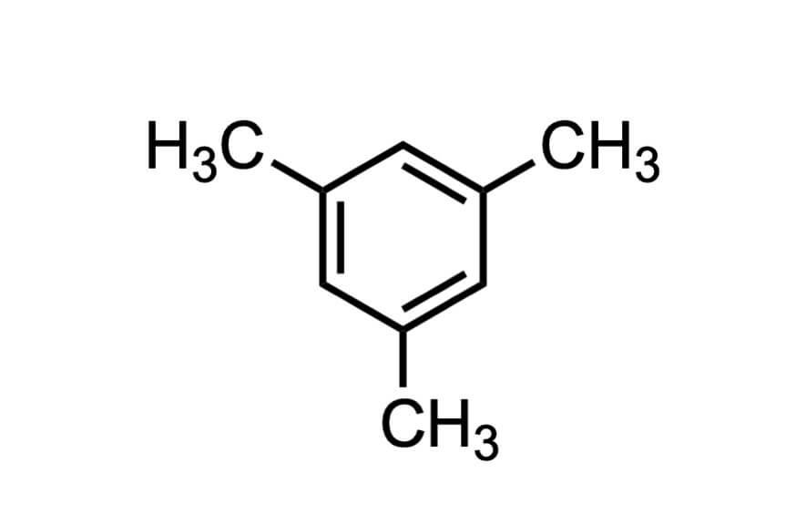 1,3,5-トリメチルベンゼンの構造式