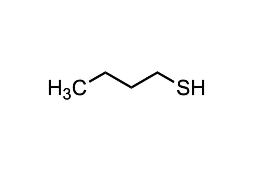 1-ブタンチオールの構造式