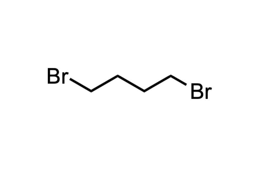 1,4-ジブロモブタンの構造式