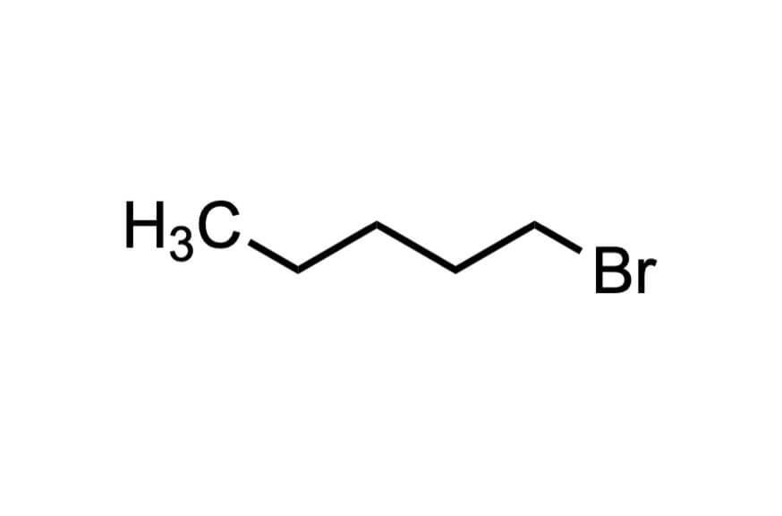 1-ブロモペンタンの構造式