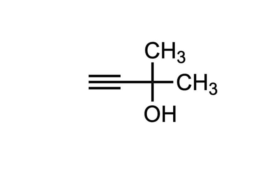 2-メチル-3-ブチン-2-オールの構造式
