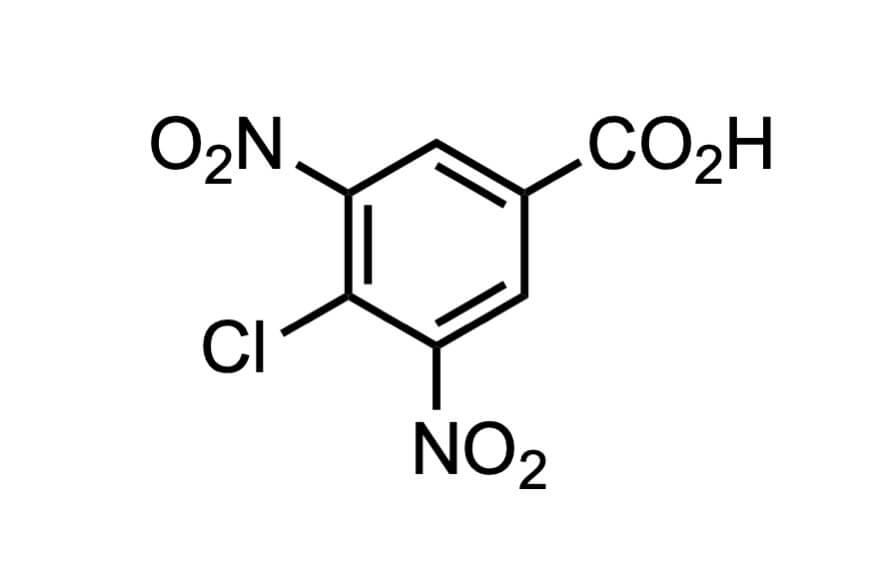4-クロロ-3,5-ジニトロ安息香酸の構造式