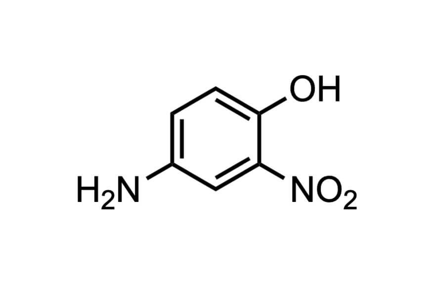 4-アミノ-2-ニトロフェノールの構造式