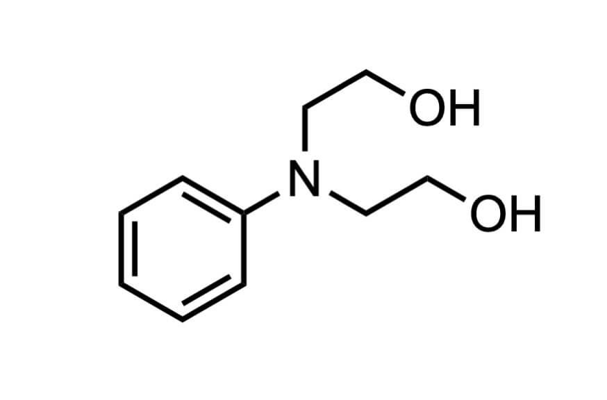 N-フェニルジエタノールアミンの構造式