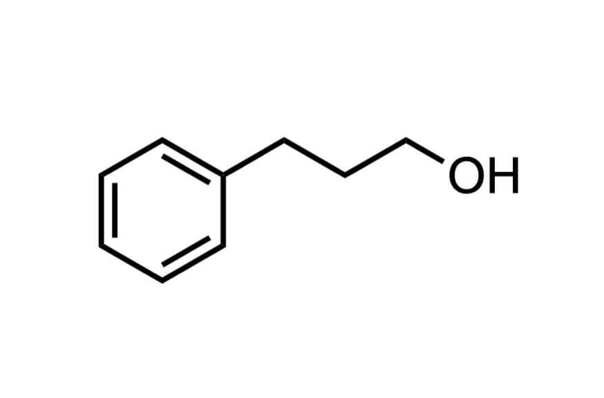 3-フェニル-1-プロパノールの構造式