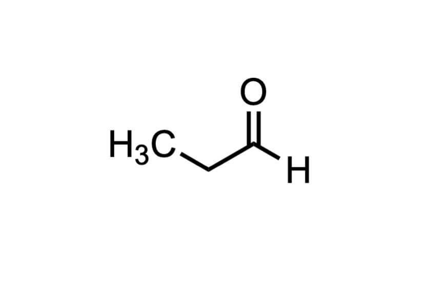 プロピオンアルデヒドの構造式