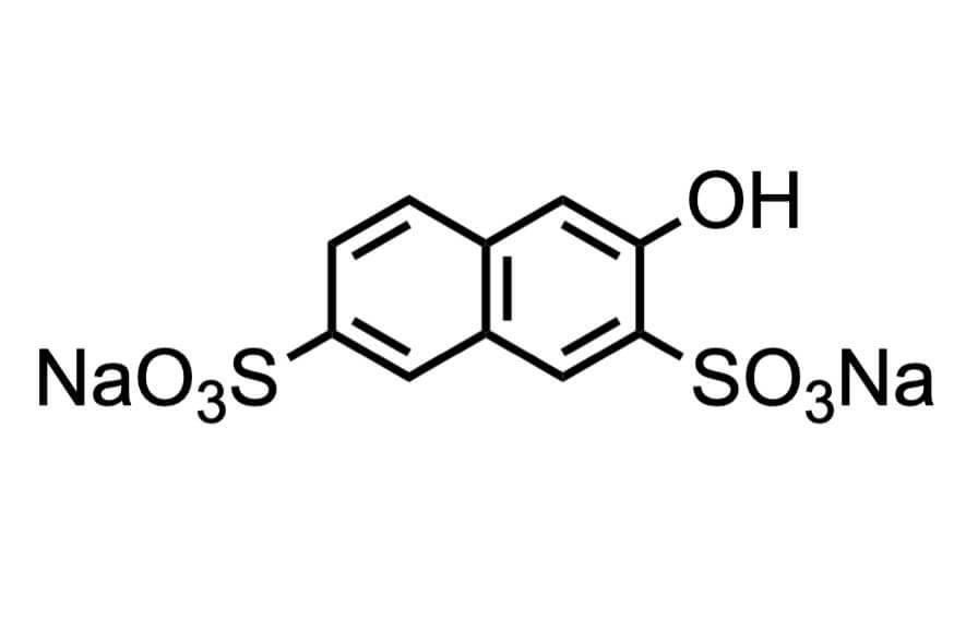 3-ヒドロキシ-2,7-ナフタレンジスルホン酸二ナトリウムの構造式