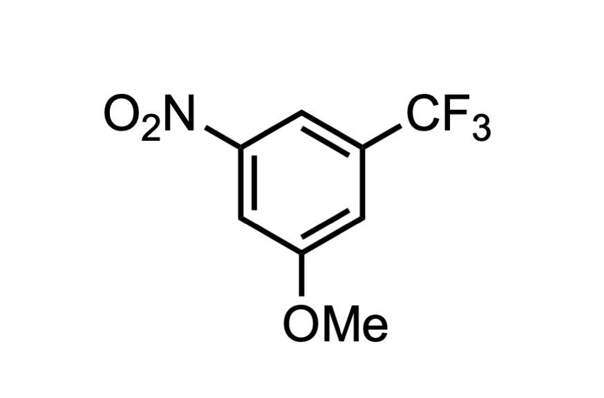 3-メトキシ-5-ニトロベンゾトリフルオリドの構造式