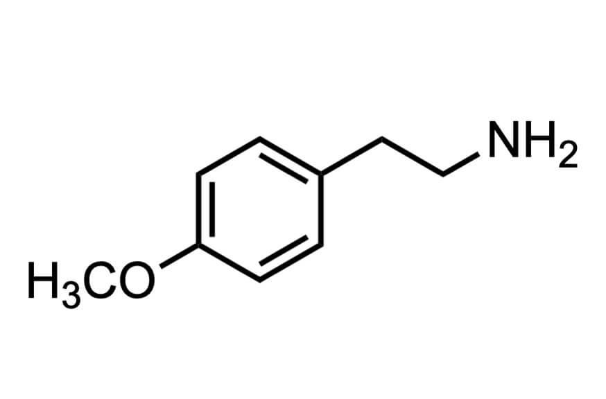 2-(4-メトキシフェニル)エチルアミンの構造式