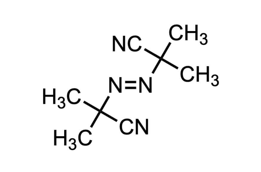 2,2'-アゾビス(イソブチロニトリル)の構造式