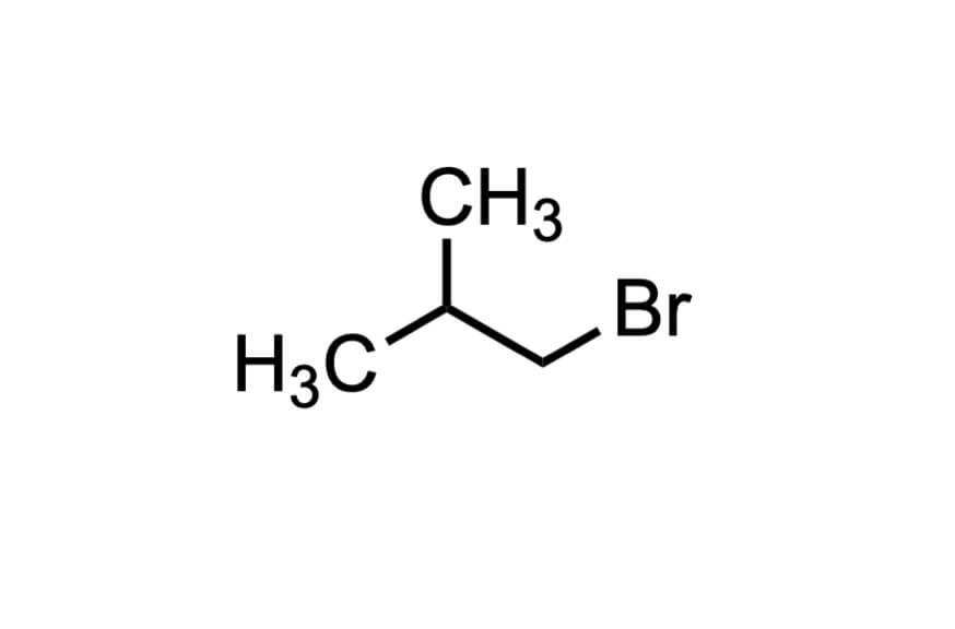 1-ブロモ-2-メチルプロパンの構造式