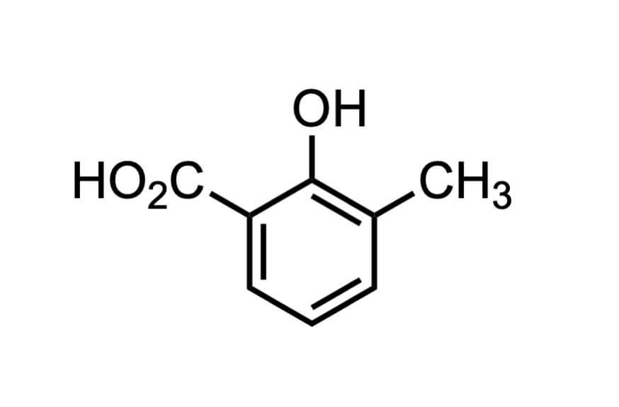 3-メチルサリチル酸の構造式