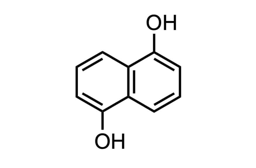 1,5-ジヒドロキシナフタレンの構造式