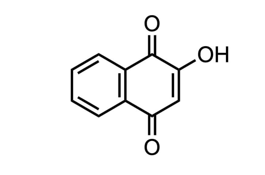 2-ヒドロキシ-1,4-ナフトキノンの構造式