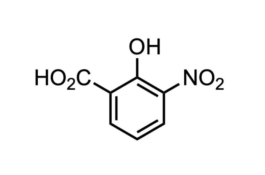 3-ニトロサリチル酸の構造式