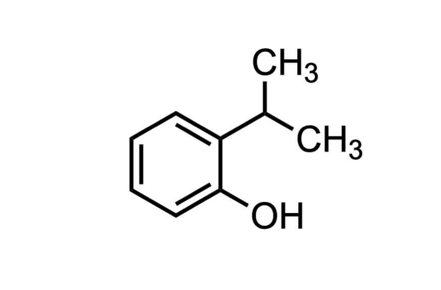 2-イソプロピルフェノールの構造式