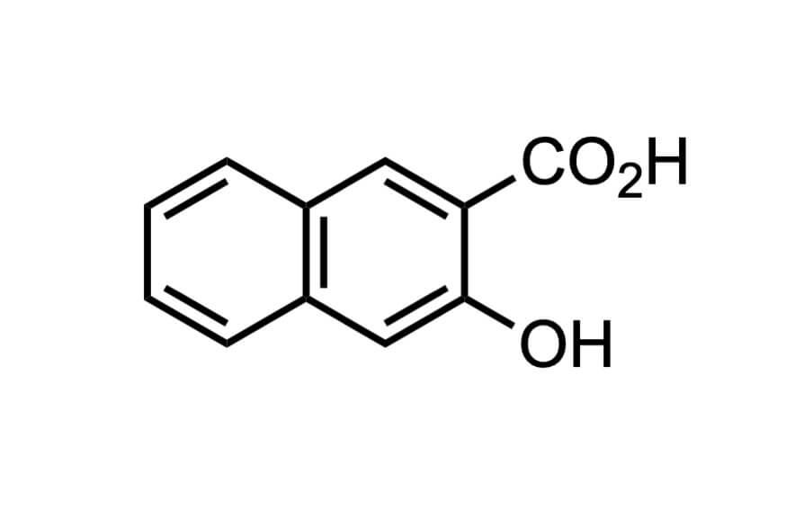 3-ヒドロキシ-2-ナフトエ酸の構造式