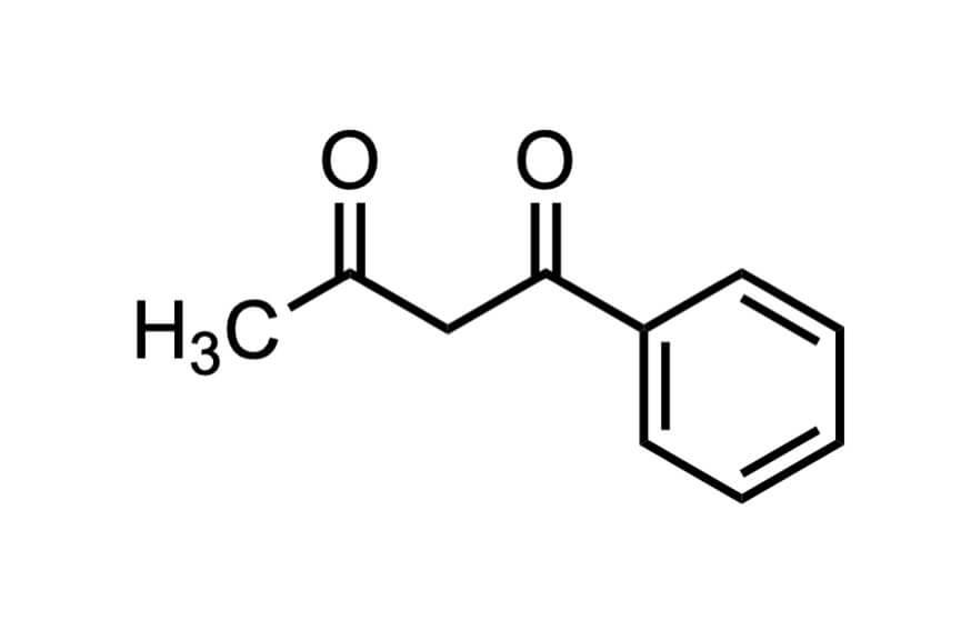 1-フェニル-1,3-ブタンジオンの構造式