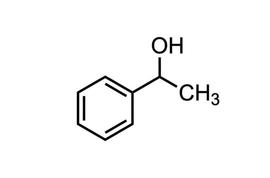 (±)-1-フェニルエチルアルコールの構造式