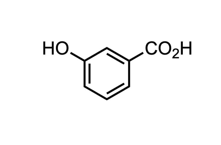 3-ヒドロキシ安息香酸の構造式