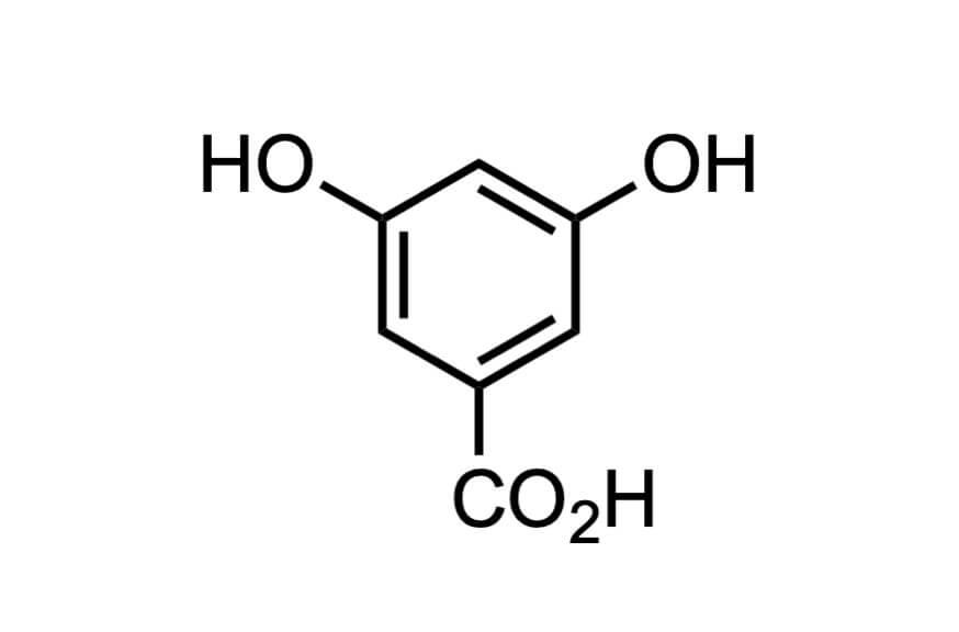 3,5-ジヒドロキシ安息香酸の構造式