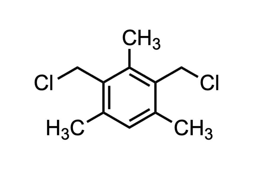 2,4-ビス(クロロメチル)-1,3,5-トリメチルベンゼンの構造式