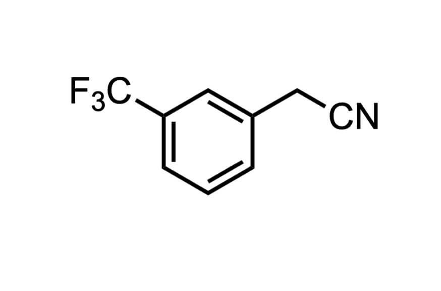 3-(トリフルオロメチル)フェニルアセトニトリルの構造式