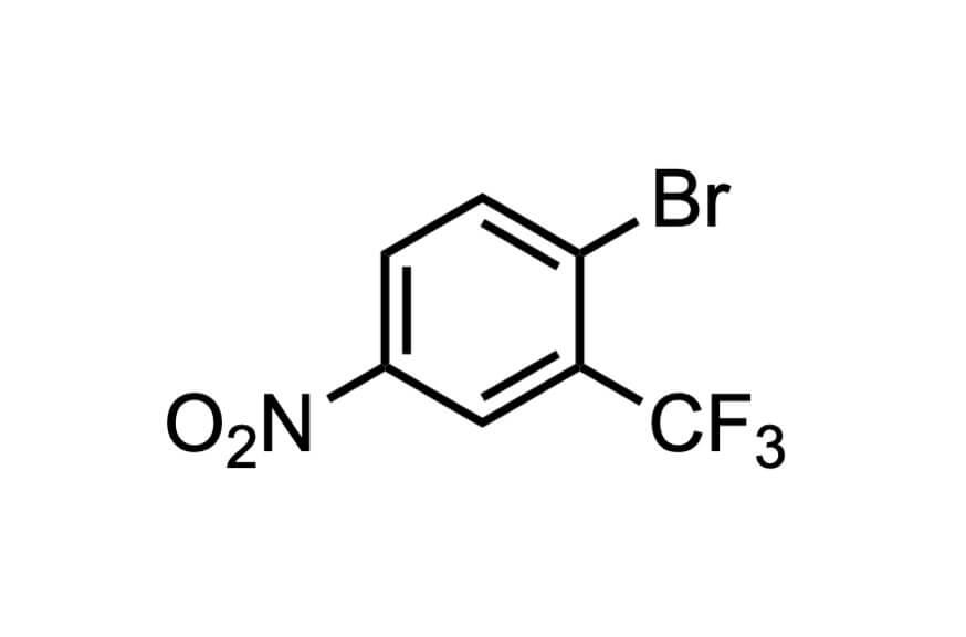 2-ブロモ-5-ニトロベンゾトリフルオリドの構造式