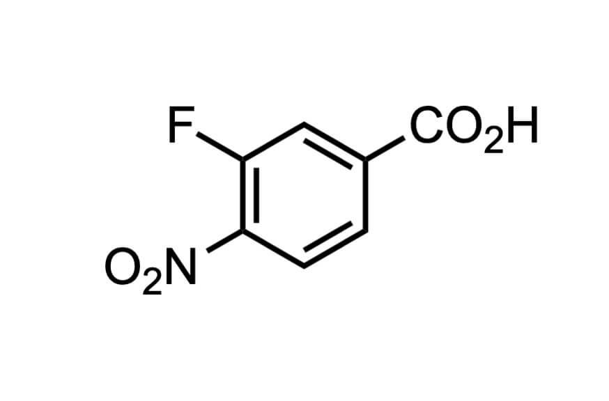 3-フルオロ-4-ニトロ安息香酸の構造式