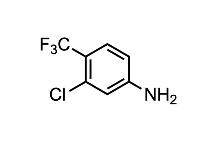 3-クロロ-4-トリフルオロメチルアニリンの構造式