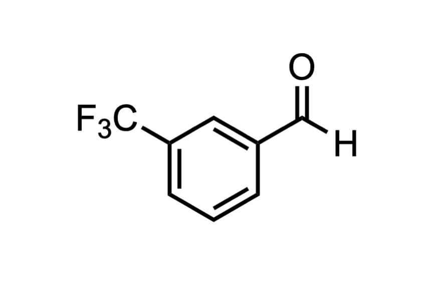 3-(トリフルオロメチル)ベンズアルデヒドの構造式