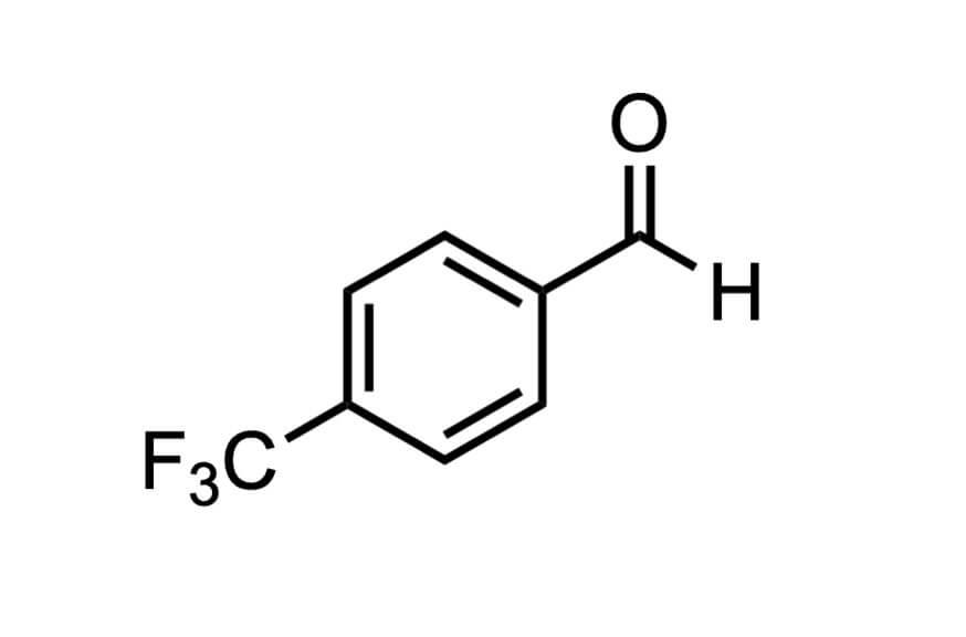 4-(トリフルオロメチル)ベンズアルデヒドの構造式
