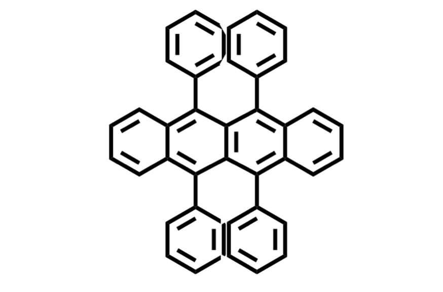 5,6,11,12-テトラフェニルナフタセンの構造式