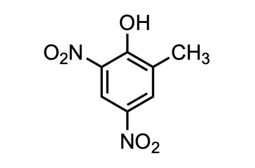 4,6-ジニトロ-o-クレゾールの構造式