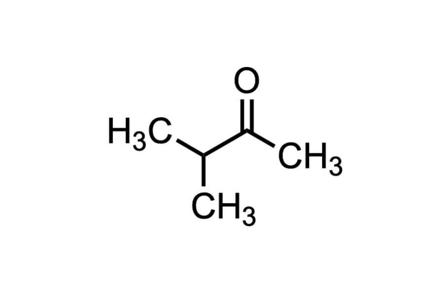 3-メチル-2-ブタノンの構造式