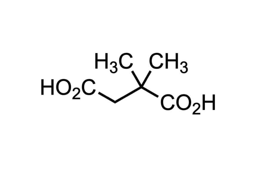 2,2-ジメチルこはく酸の構造式