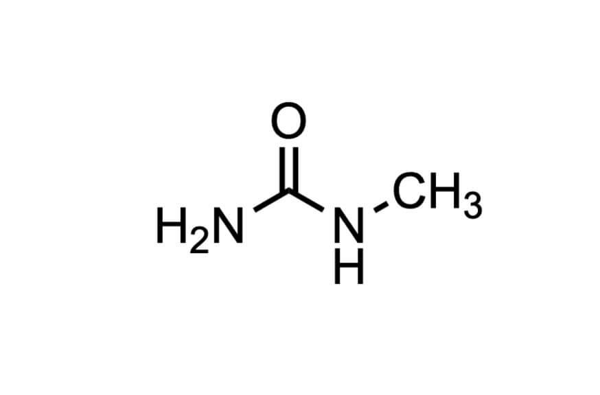 1-メチル尿素の構造式