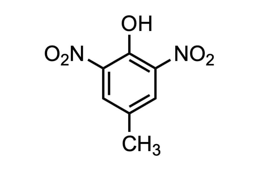 2,6-ジニトロ-p-クレゾールの構造式
